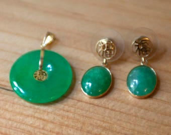 14K Gold & Jade Chinese Earrings and Pendant Set