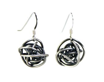 "Sterling Silver ""Scribbles""  oxidized earrings in tarnish resistant argentium sterling silver"
