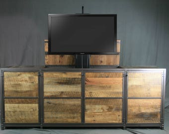 tv lift cabinet rustic tv hideaway console reclaimed wood center vintage industrial