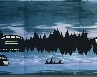 "2016 Row by Row Dark ""Evening"" Home to Seattle Row Quilt Kit Skyline Puget Sound Mt Rainier"
