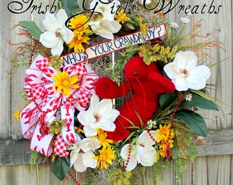 Who's Your Crawdaddy Wreath, Crawfish Boil wreath, Cajun Wreath, summer floral Swag, Magnolia, Spanish moss, Crawfish beads