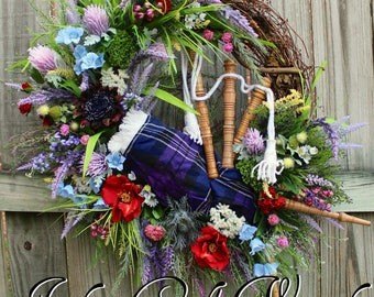 MADE TO ORDER Scottish Highland Bagpipes and Wildflowers Wreath, Pride of Scotland Tartan, Scotland Heather and Thistle Wreath, Large Celtic