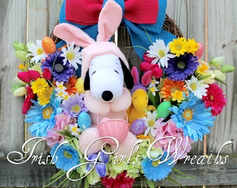 Peanuts Easter Beagle Wreath, Snoopy and Woodstock Easter Wreath, Pink Bunny Snoopy, Tulips, Gerbera Daisy, Easter Floral Teal, Hot Pink