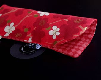 Glasses case quilted, red, cherry blossom, SAKURA