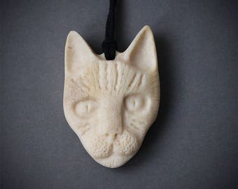 Cat pendant, Cat necklace, Cat jewery, Cat head, Cat head necklace, Antler necklace, Bone carving, Antler jewelry, Animal totem, Cats