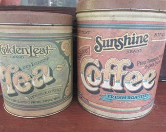 Kitchen Canisters Retro Kitchen Tins Coffee And Tea 1979 Ballonoff Pentron  Industries