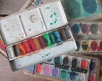 Vintage Art Supplies Craft Supplies Paint Cray Pas Watercolors Paintbox Collection Photo Prop