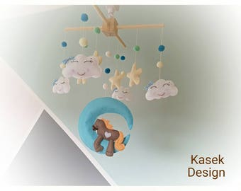 Ready to ship - Baby Crib Mobile - Music Baby Mobile - Felt Mobile - Nursery mobile - Horse on the moon - Pony
