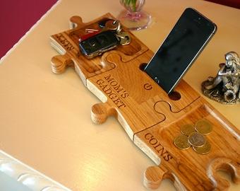 Phone, Coin, & Key Trays - Personalized Wooden Oak  - Docking Stations - Irish Furniture Store