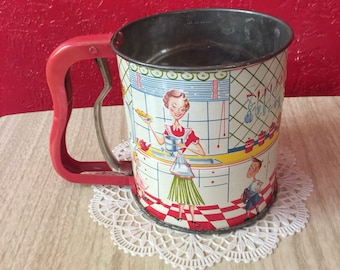 Vintage 1950s Kitchen Scene Sifter ~ Androck Hand-i-Sift ~ Excellent