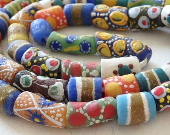 """Authentic handmade African sandcast beads - Extra long strand!  37"""" strand, artisanal glass beads from Ghana, African trade beads, 55+ beads"""