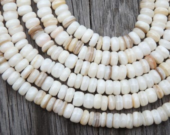"""Irregular shell rondelle beads in natural tones, 15"""" strand, shell beads in a range of natural colours, 6-8mm shell rondelles, shell heishi"""