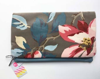 Velvet & Faux Leather Fold Over Clutch, Luxurious Velvet Fabric, Handmade Clutch Bag, Soft Blue Faux Leather Clutch, Handmade Bag