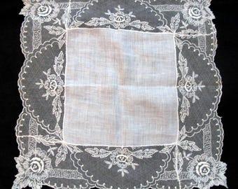 Antique Lace Handkerchief Tambour Wedding Hankie Bridal Hankerchief