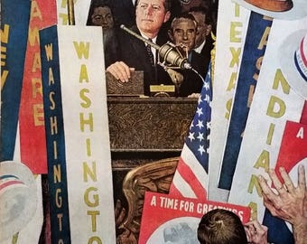 JFK John F Kennedy Norman Rockwell Illustration 60 Dem Convention LOT 2pps Convention Floor Debate Nixon ELECTION History 1960