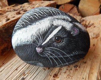 Skunk, Skunk Painted Rock, Cute Skunk Painting, Painted Skunk Rock, Skunk Art