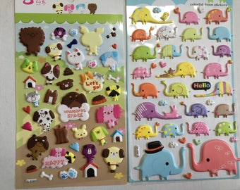 Japanese Paper Puffy Sticker (Pick 1) Let's Go Puppies or Colorful Elephants
