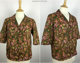 Vintage 1950s Top - 50s Floral Nylon Blouse - 50s Pinup Rockabilly Shirt - Large - UK 14-16 / US 10-12 / EU 42-44
