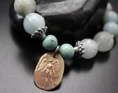 Greeen Girl Studios angel charm bracelet, ethereal boho bracelet, spring summer soft colors bracelet, stretch aqua gemstones bracelet