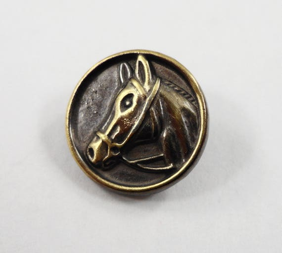 Metal Horse Buttons 14mm Dark Silver and Brass Metal Shank Buttons, Brass Horse Head Buttons, Western Buttons, Sewing Supplies, 5pc