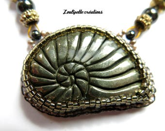 Embroidered stone pyrite necklace