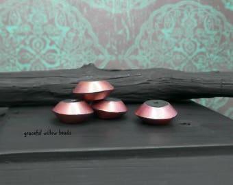 Pink Pearl Black Shimmer Polymer Round Saucer Bead - Modern Bohemian Saucer Bead - 14mm - Pkg. 4
