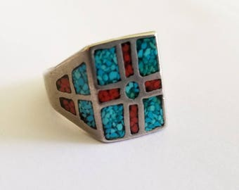 Sterling Silver Navajo Turquoise & Coral Ring SIZE 9.5