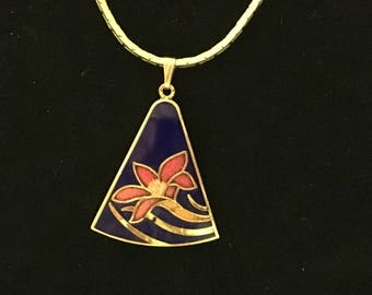 "Vintage Cloisonne Pendant on Gold Tone Herringbone Chain Tropical Flower 18"""
