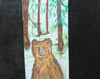 Hand Painted Bookmark, Brown Bear in Woods, woodland style, collectible  bear art, wildlife art, Fine Art Watercolor by HikingTrails