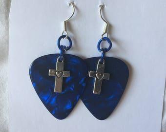 HC Swirling Dark Blue Guitar Pick Earrings with Silver Toned Cross Pendants