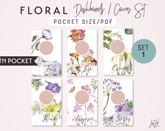 POCKET Size WATERCOLOR FLORAL Dashboards Set 1 - Printable Traveler's Notebook Covers