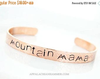 WEEKEND SALE Mountain Mama Hand Stamped Cuff Bracelet, Mountains, Hills, Appalachia, Mom, Mother, Hammered, Textured