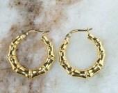 14K Yellow Gold Hollow Bamboo Design Hoop Pierced Earrings - 2.0 grams
