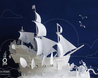 Anne's Revenge (Pirate Ship) Automata Paper Toy Kit / 3D Automata Puzzle Kit