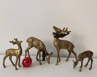 brass deer figurines / mid century modern