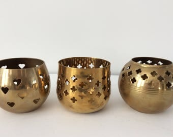 trio of brass votive candle holders / hearts / Valentine's Day
