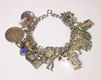Vintage Sterling Silver and Enamel Charm Bracelet - Weight 65.1 Grams - Keepsake - Memories # 1473