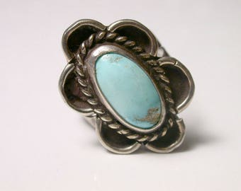 Sterling Silver Southwestern Flower Turquoise Ring - Size 7 - Blue Oval Turquoise - Native American - Navajo - Weight 6.5 Grams # 358