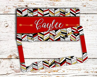 Gift for teen daughters, Tribal car license plate or frame, Monogram auto car tag, Girls Car accessories, Aztec Bike tag, Red black  (1437)