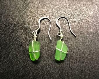 Lake Michigan Delicate Green Beach Glass Earrings