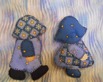 Two Fabric Dolls-Sun Bonnet Sue -Overall Andy-3D-Handmade