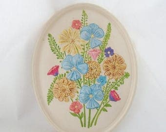 ON SALE Vintage 1979 Ceramic Flower Wall Hanging, Atlantic Mold, Spring Flowers, Cottage Chic, Shabby Chic, Blue, Pink, Purple Iridescent Pa