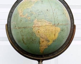 ON SALE 1946 A.J. Nystrom 12-Inch Suspension Terrestrial Globe W. & A.K. Johnston, Ltd., Edinburgh Scotland