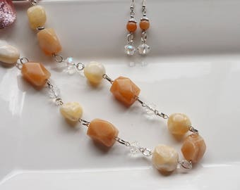 Calcite Necklace Set, Women's Necklace, Red Adventurine Necklace, Chunky Necklace