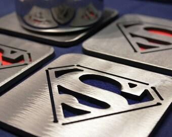 Superman Coaster Set of 4, Stainless Steel