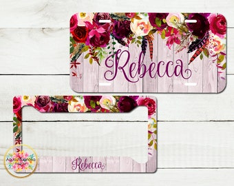 Watercolor Burgundy Roses - Personalized License Plate - Blush Wood - Car Tag - Monogrammed License Plate Frame - Plate & Frame Set