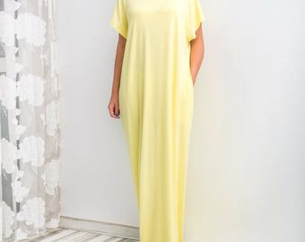 SALE ON 20 % OFF Yellow Maxi Dress/ Caftan/ Oversized dress/ Off the shoulders dress/ Summer Dress/ Plus size dress/ Casual dress