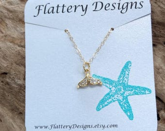 Pave Whale Tail Goldfill Necklace