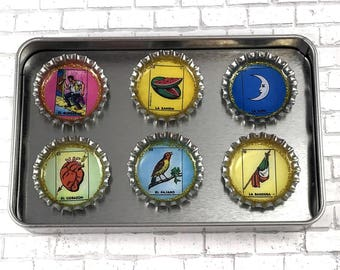 Mexican Loteria Magnets Bottle Cap Magnets Mexican Folk Art El Borracho El Corazon Unique Gift Set Office Decor Repurposed Magnets