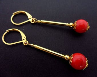 A pair of hand made long dangly gold plated red coral bead leverback hook earrings. New.